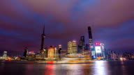 Timelapse(zoom in)-Sunset at Bund Shanghai China