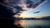 Timelapse-sunset views seen during Boat ride along the Danube Delta canals