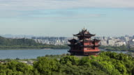 4K Time-lapse:The Chenghuang Pagoda against the West Lake in morning,China