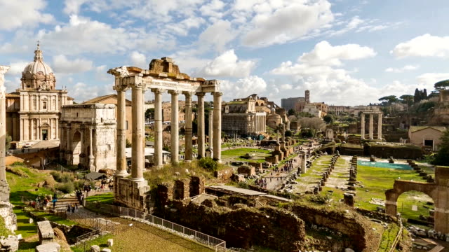 Timelpase of Rome with Roman Forum and Colosseum