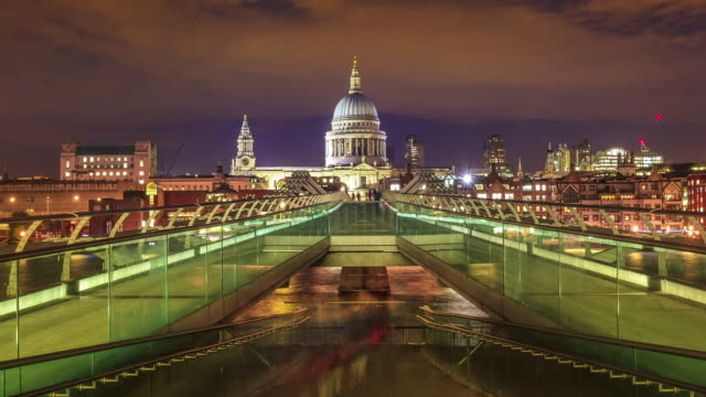 Timelpase of the Millennium Bridge with St Paul's Cathedral in the London