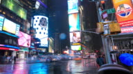 Times Square traffic at night