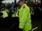 Dundee Timex Factory MS Police holding back demos MS Police drag arrested demo towards PAN RL to BV BV Line of police holding back demos MS Police...