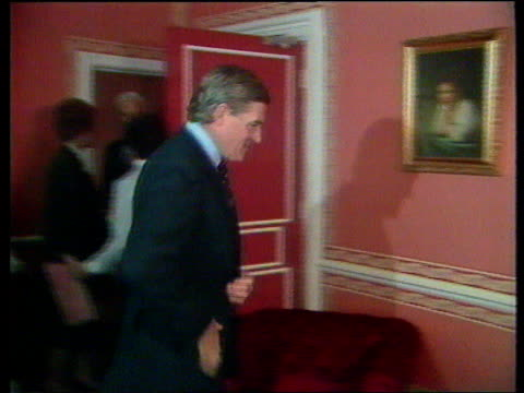 Timothy Yeo MP resignation LIB MAT HELD MILLBANK CMS Cecil Parkinson MP in room with wife and others ITN MS David Mellor MP toward TRACK CMS Mellor...