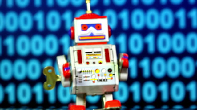 Tin Toy Robot with binary code
