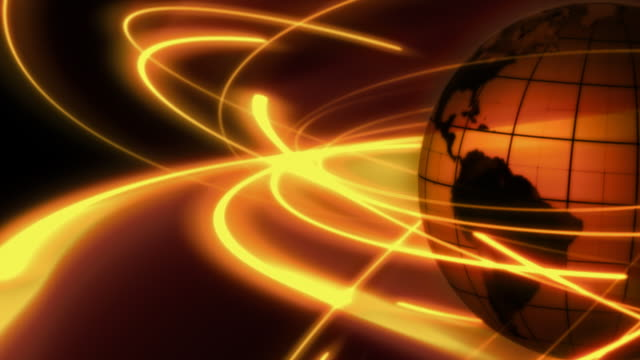 Tinted spinning globe with glowing communication orbits