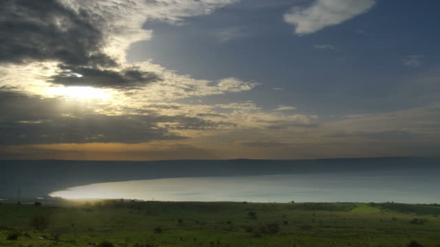 WS T/L Tip of Sea of Galilee with moving clouds / Galilee, Israel