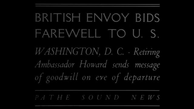 'British envoy bids farewell to US Washington DC Retiring Ambassador Howard sends message of goodwill on eve of departure' / Esme Howard 1st Baron...