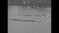 'Cambridge Makes It Ten Straight Over Oxford Light blues outrow rivals in historic regatta on Thames' / overhead shot of rowing crews starting race...