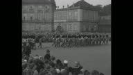 'King Gets a Party CopenhagenChristian X 62 years old Thousands surround Amalienborg Palace to hail their beloved monarch' / MS Royal Guards parade...