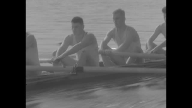 'Leading Crews Out to Sweep College Seas' / various college rowing teams around US practice / US Naval Academy cadets on the Severn River / Harvard...