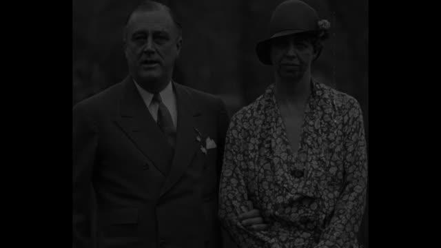'Mrs Roosevelt attends Governors' Conference with husband Gov F D Roosevelt NY April 26 1932' / Governor Roosevelt speaks to camera standing next to...