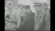 'Mussolini Captured Pictures Nazis 'Rescue' Duce' / shot of cable across ravine in Apennine Mountains / shot from inside cable car that Benito...