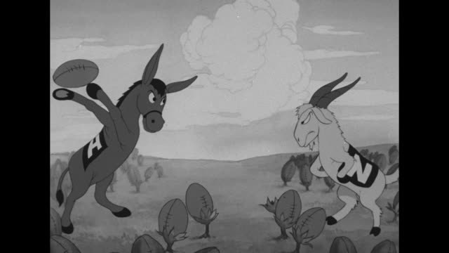'Paramount News' / dissolve to ANIMATION of Army Mule and Navy's Bill the Goat football mascots facing off then fighting over giant football that...