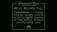 'Relay Records Fall Philadelphia College athletes smash records in thirtyeighth running of Penn Relays brilliant preOlympiad meet' / high hurdles...