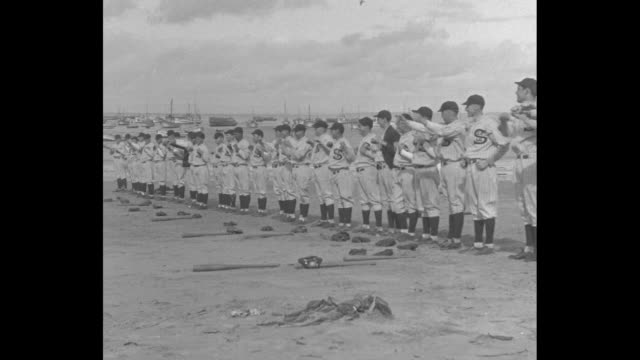 'Seals Get In Trim For Busy Season Monterey Calif Pacific Coast League battlers warm up for 1930 championship fight' / row of players in uniforms...