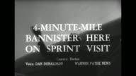 'Sports' / title card '4 MinuteMile Bannister Here on Sprint Visit' superimposed over Bannister deplaning and waving / Roger Bannister arrives at New...