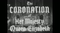 'The Coronation of Her Majesty Queen Elizabeth' superimposed over interior of Westminster Abbey / thanks and courtesy regarding the music...