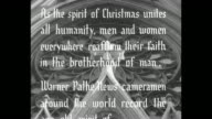 'The Management of this Theater wishes You and Yours A Happy Holiday Season' superimposed over Christmas wreath / title card 'Christmas 1949 As the...