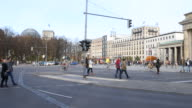 To commemorate the history of the Berlin Wall which divided Berlin from 1961 to 1989 stones are embedded in the asphalt that mark these locations in...