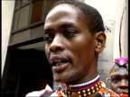 MOD to compensate tribesmen ITN London Members of Kenyan Masai and Samburu tribes towards from building in tribal dress Tribesmen posing for...