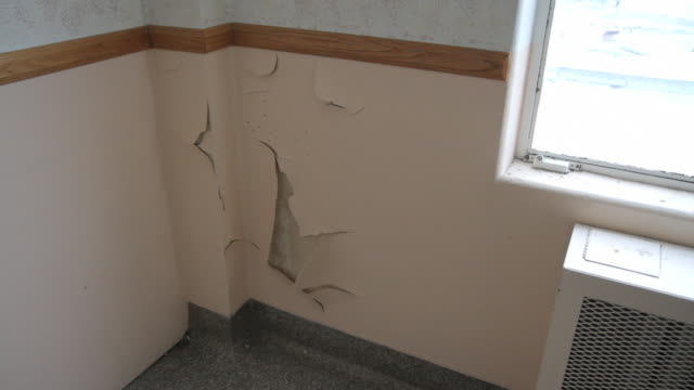 ZI to peeling paint in empty room of closed hospital
