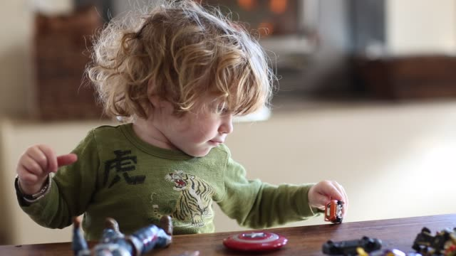 Toddler boy playing with his toys at home