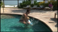(HD1080) Toddler Jumps Into Mother's Arms in Pool
