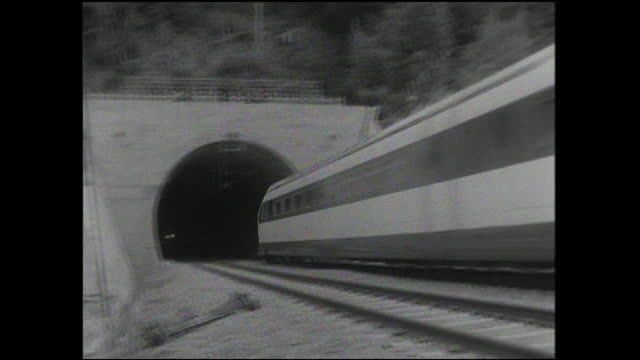 A Tokaido Shinkansen bullet train enters a tunnel during a test run.