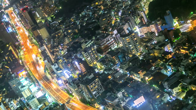Stad Tokio gezichtspunt nachts spinnen time-lapse