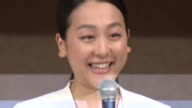 Mao Asada threetime world champion and silver medalist at the 2010 Vancouver Olympics attends a press conference at a Tokyo hotel on April 12...