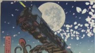 Renowned cartoonist Leiji Matsumoto attends an exhibition in Tokyo on March 7 of a series of ukiyoe woodblock prints based on his popular works...