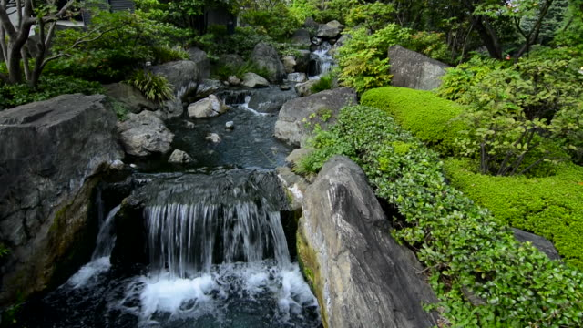 Tokyo Japan quiet area with waterfall at Sensoji Temple at Tokyo's oldest temple with water and rocks and peaceful scene