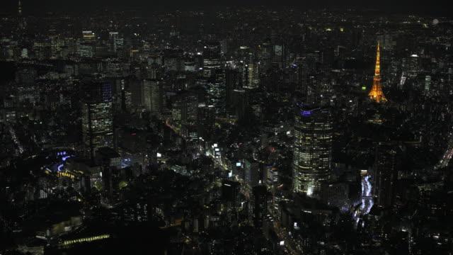 Tokyo night aerial image - Roppongi and Tokyo Tower