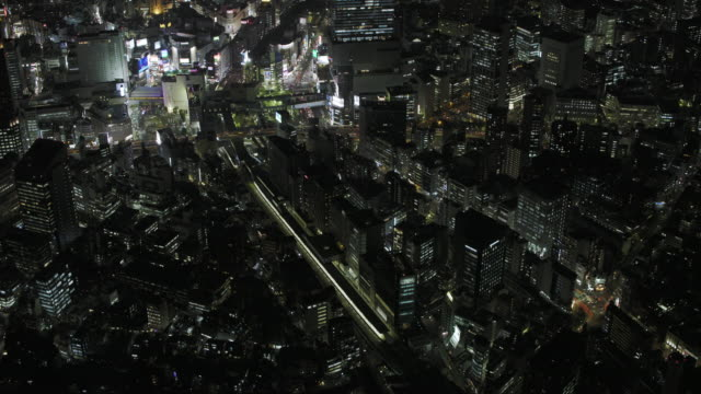 Tokyo night aerial image - Shibuya district