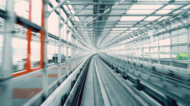 POV Tokyo railroad tracks on the bridge