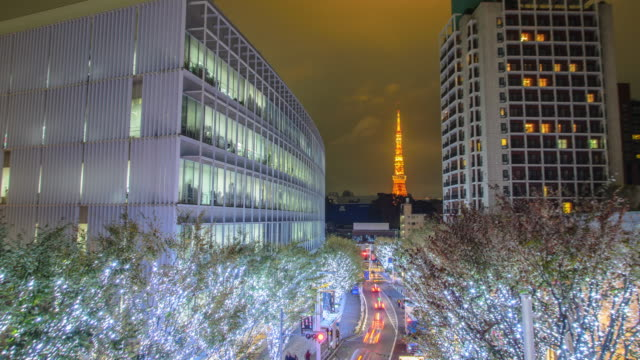 T/L WS: Tokyo Tower and Christmas illuminations in Roppongi Tokyo , Japan