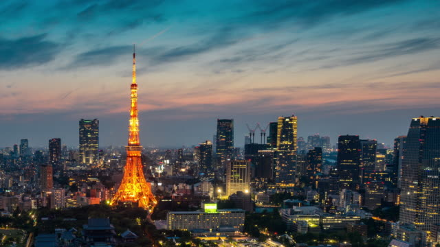 Tokyo Tower Day to Night Time lapse