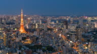 Tokyo Tower in Tokyo City, Day to Night time lapse