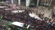 Tom Brady and other members of the Patriots celebrate their Super Bowl victory in Boston Footage is from above Boylston street across from the...