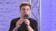 INTERVIEW Tom Daley on who is the better chef between him and Dustin Lance Black at Build Series London Tom Daley at AOL London on January 11 2017 in...