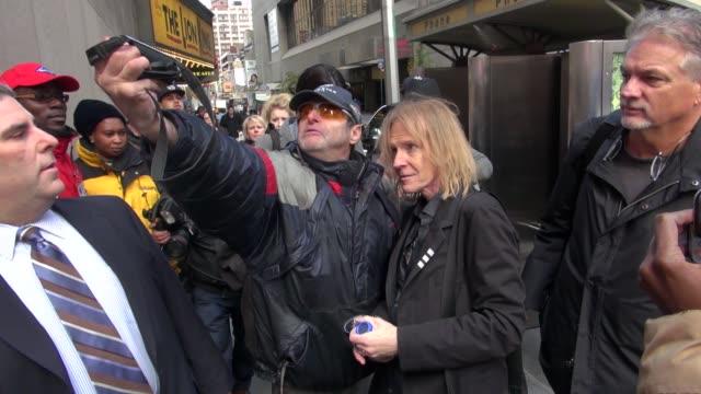 Tom Hamilton of Aerosmith walking into VH1 in New York NY on 11/02/12