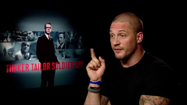 Tom Hardy on only filming with 2 of the cast members his hero Gary Oldman at the Tinker Tailor Soldier Spy Interviews at London England