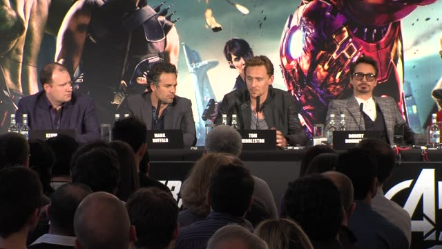 Tom Hiddleston on screenplay and Joss Whendon at Avengers Assemble Press Conference at Claridges Hotel on April 19 2012 in London England