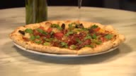 Tomato and fig pizza at Acanto restaurant on Nov 5 2014 in Chicago