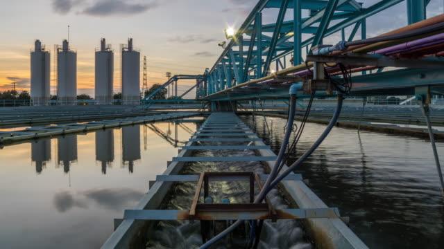 4 K Tome-Lapse: Water Treatment plant met zonsondergang
