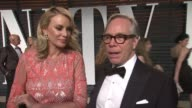 INTERVIEW Tommy Hilfiger at the 2015 Vanity Fair Oscar Party Hosted By Graydon Carter at the Wallis Annenberg Center for the Performing Arts on...