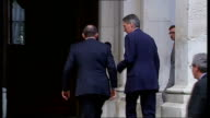 Tony Abbott meets Philip Hammond at Foreign Office ENGLAND London Foreign Office EXT Tony Abbott out of car and shaking hands on steps of Foreign...