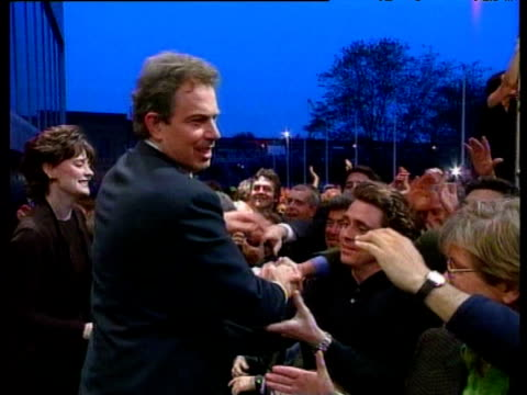Tony Blair and an emotional Cherie Blair greet supporters outside Royal Festival Hall following Labour Party election victory London 02 May 97