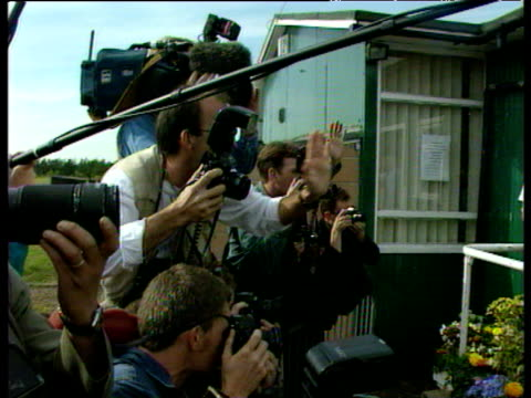 Tony Blair and family pose for photographers at polling station in Sedgefield constituency 1997 General Election 01 May 97